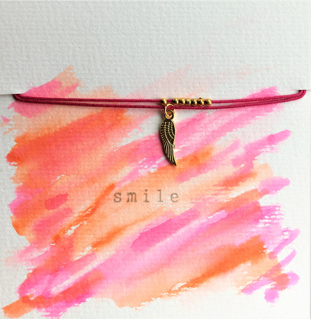 Bright pink/cerise double cord bracelet - Angel wing - Colour and Charm - eDgE dEsiGn London