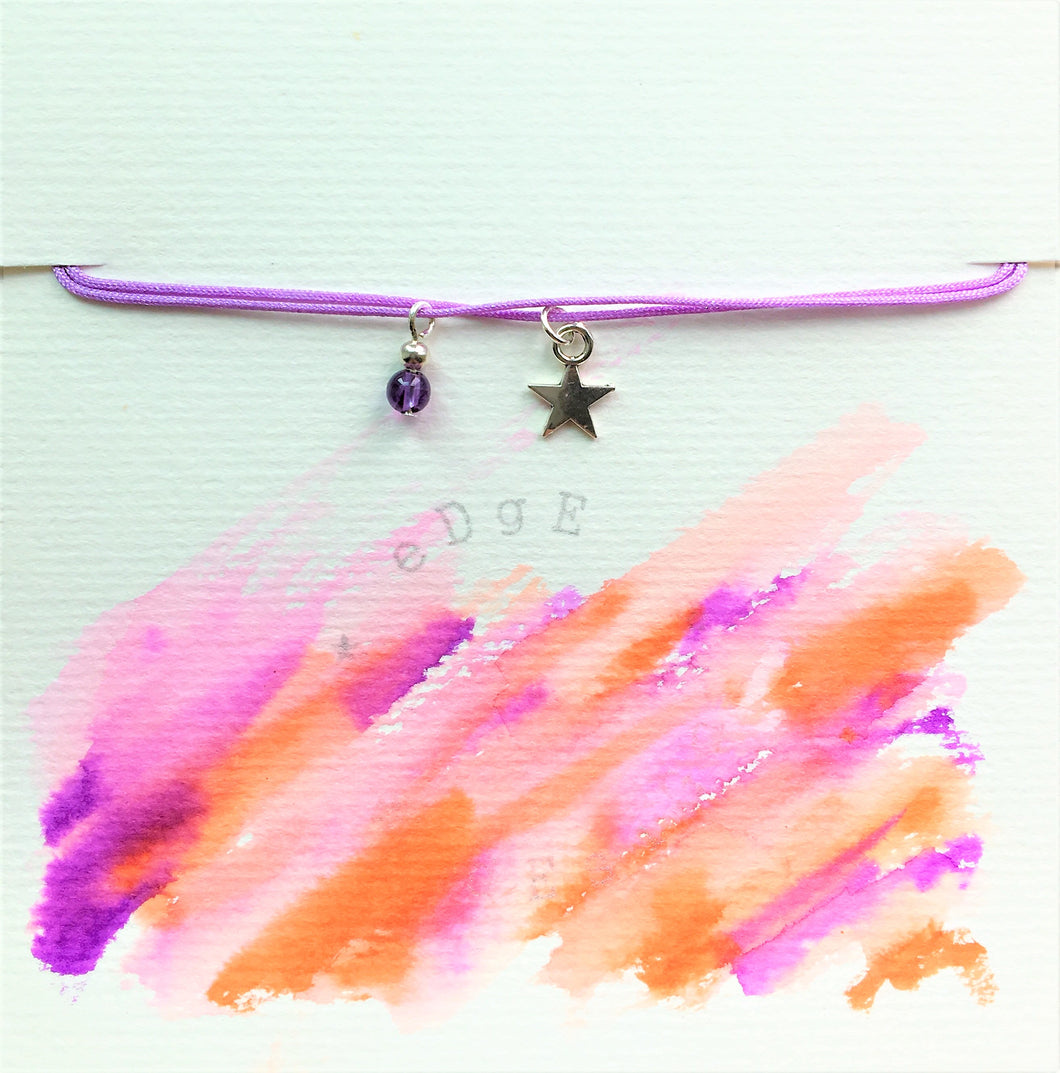 Lilac double cord bracelet - Amethyst and silver star charm/pendant - Colour and Charm - eDgE dEsiGn London