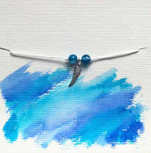 White cord bracelet - Blue Agate with Silver Angel Wing - Colour and Charm Collection - eDgE dEsiGn London