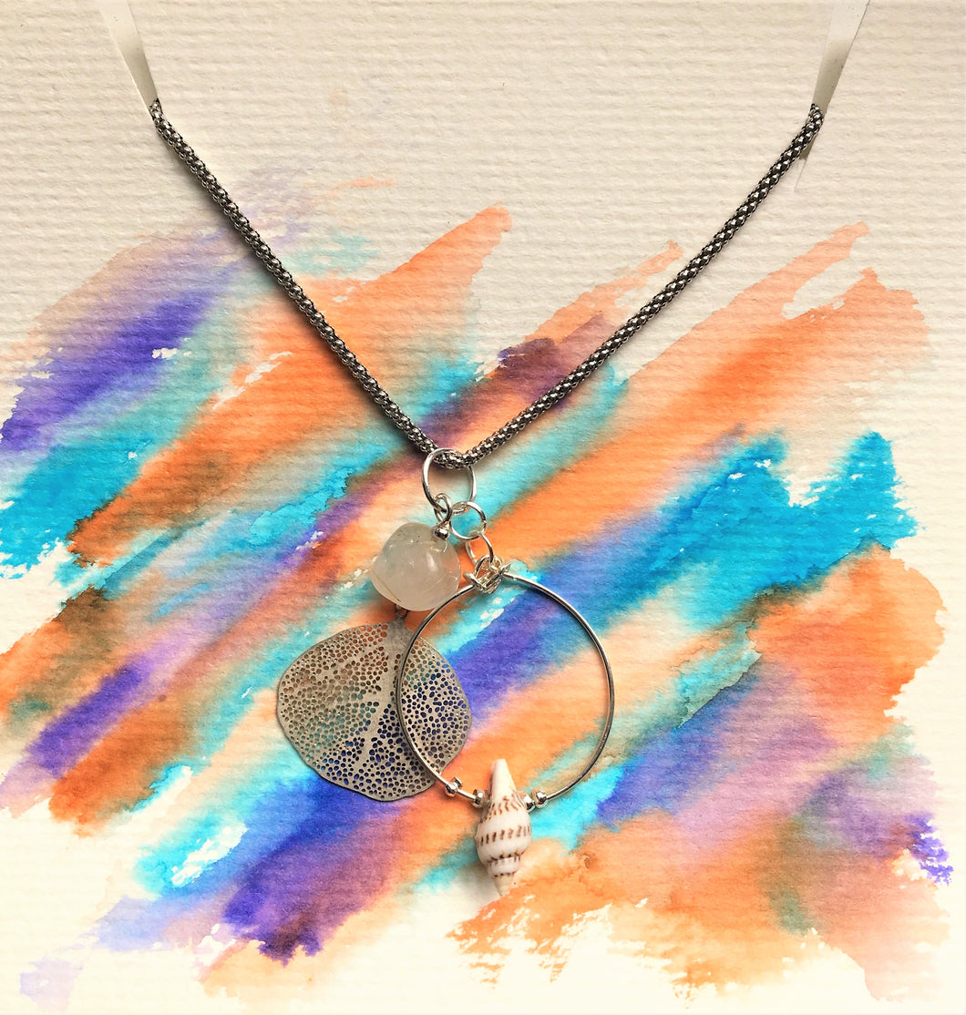 Sterling silver necklace - Filigree Leaf, Quartz and Shell - Colour and Charm Collection - eDgE dEsiGn London