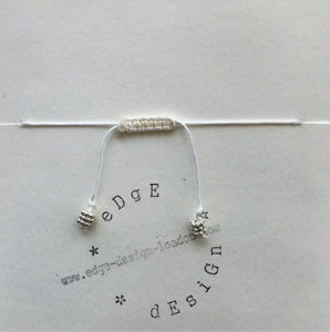 White cord bracelet - Silver Bauble beads - Colour and Charm Collection - eDgE dEsiGn London
