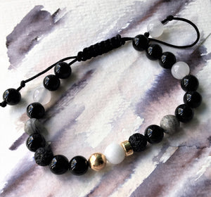 Black cord bracelet - Onyx, Obsidian, Volcanic, Jade and Gold beads - Colour and Charm Collection - eDgE dEsiGn London