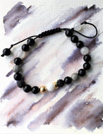 Black cord bracelet - Onyx, Obsidian, Volcanic, Jade and Gold beads - Colour and Charm Collection