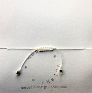 White cord bracelet - Millefiori clear/white bead - Colour and Charm Collection - eDgE dEsiGn London