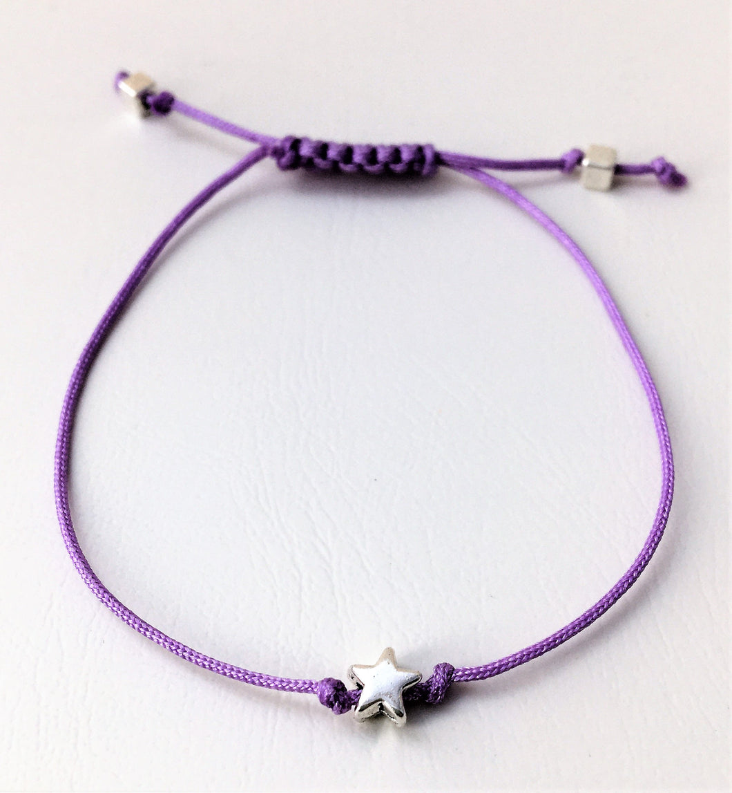 Beaded Lilac Cord Bracelet - Silver Star - eDgE dEsiGn London