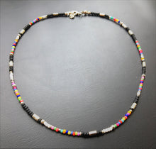Beaded Choker necklace - multicoloured seed beads and silver tubes - eDgE dEsiGn London
