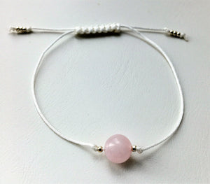 Beaded white cord bracelet - Rose Quartz and silver plated seed beads - eDgE dEsiGn London