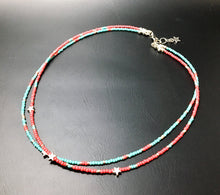 Double strand beaded choker necklace - Turquoise, silver, coral and stars - eDgE dEsiGn London