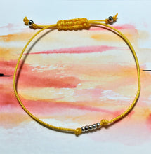 Sliding knot bracelet - Yellow with silver seed beads - eDgE dEsiGn London