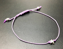 Sliding knot bracelet - Lilac with silver stars - eDgE dEsiGn London