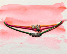 Triple strand sliding knot bracelet - Orange, Green and Cerise with silver beads - eDgE dEsiGn London