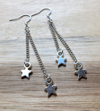 Silver dangle drop earrings - two link chains with star charms - eDgE dEsiGn London