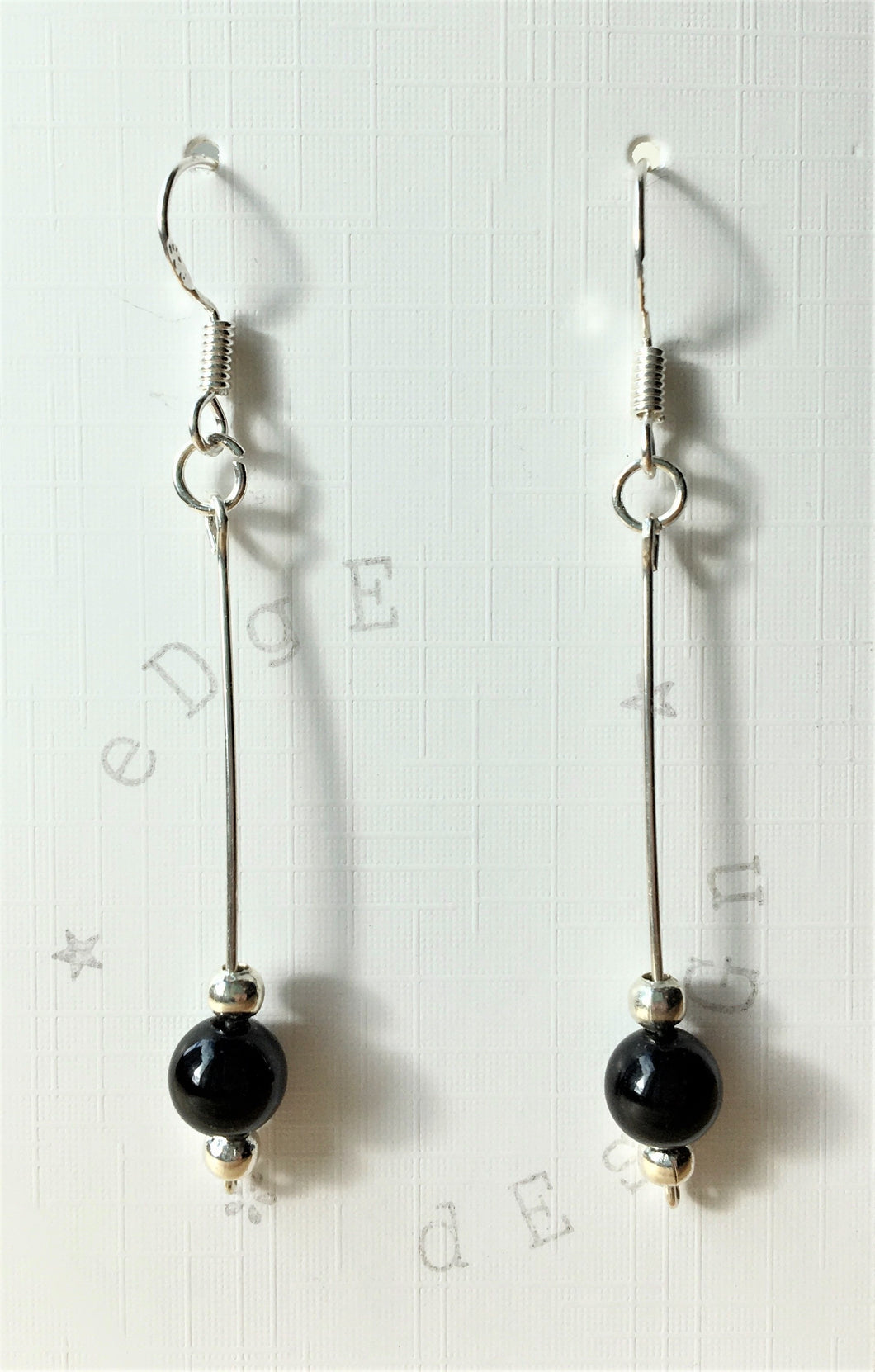 Silver dangle drop earrings - silver wire with black onyx - eDgE dEsiGn London