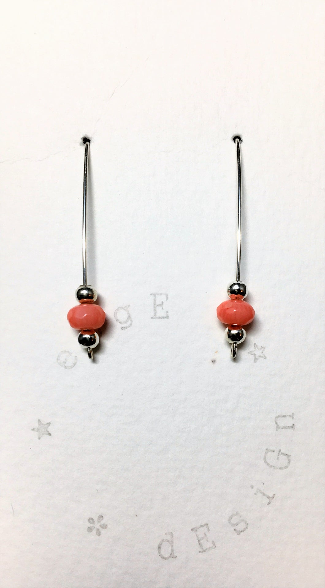 Sterling silver single wire earrings - Coral faceted beads and silver spacer beads - eDgE dEsiGn London