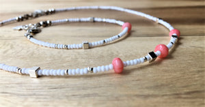 Beaded choker necklace - white and silver seed beads, silver cubes and coral beads - eDgE dEsiGn London