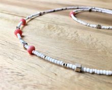 Beaded bracelet - white and silver seed beads, silver cubes and coral beads - eDgE dEsiGn London