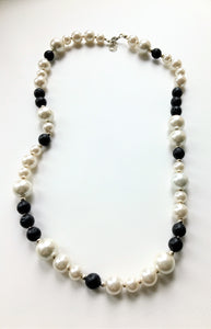 Beaded necklace - Black Volcanic Beads and Pearls with silver spacer beads - eDgE dEsiGn London