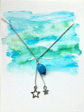Silver Choker - Oval Turquoise bead and two silver stars pendant - eDgE dEsiGn London