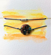 Two Blue Cord Bracelets - Venetian/Millefiori and silver beads - eDgE dEsiGn London