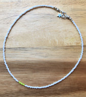 Beaded choker necklace - white, lime green and silver seed beads - eDgE dEsiGn London