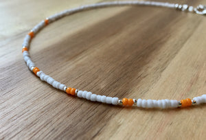 Beaded choker necklace - white, orange and silver seed beads - eDgE dEsiGn London