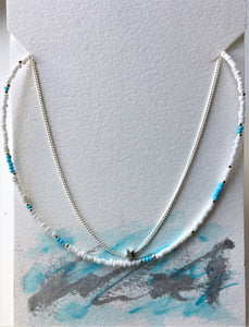 Double strand choker - white, turquoise, silver beads, chain and star - eDgE dEsiGn London