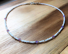 Beaded choker necklace - Lilac Swarovski Crystals with white and silver seed beads - eDgE dEsiGn London