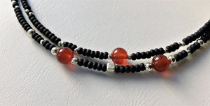 Double strand beaded choker necklace - Black, silver and Carnelian beads - eDgE dEsiGn London