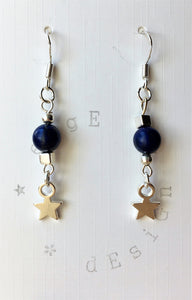 Silver dangle drop earrings - Lapis Lazuli and Star design - eDgE dEsiGn London