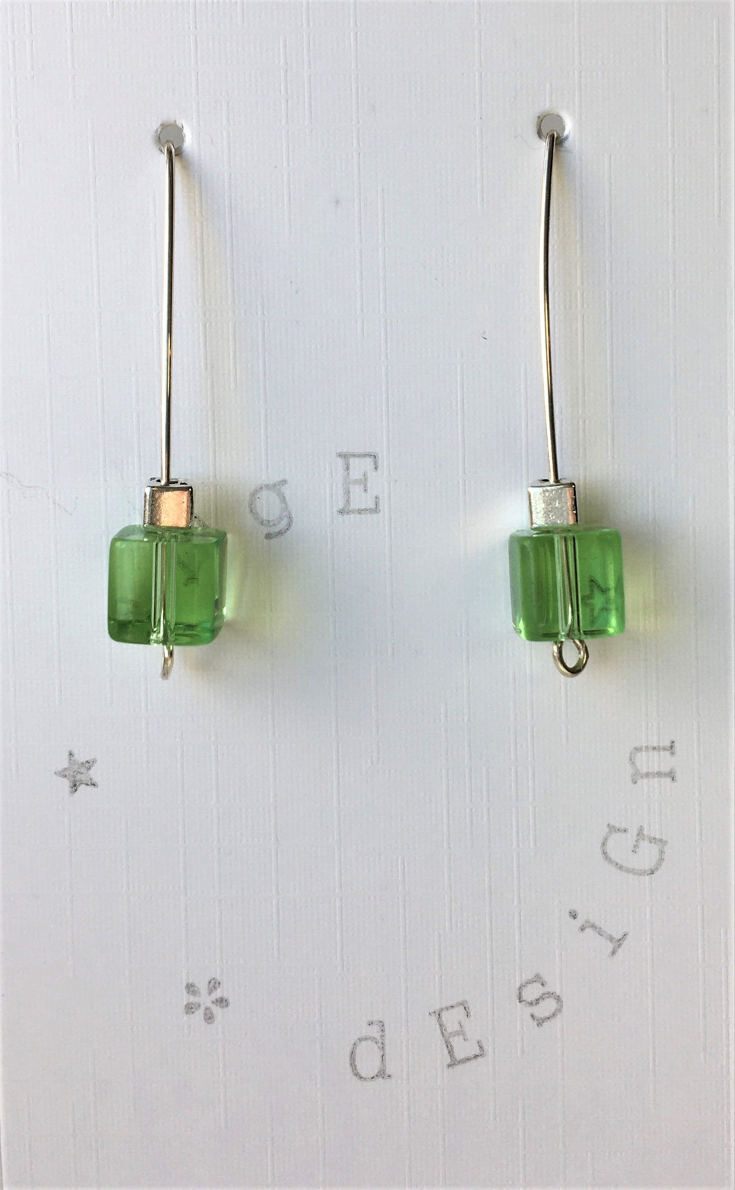 Sterling silver wire drop earrings - Green and silver cube beads - eDgE dEsiGn London