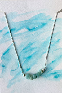 Silver chain necklace with Turquoise Amazonite beads - eDgE dEsiGn London