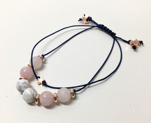 Beaded Bracelet - Navy, Rose Quartz, Obsidian and Rose Gold Stars