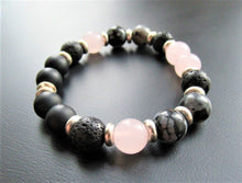 Gemstone Beaded Bracelet - Rose Quartz, Onyx, Volcanic, Obsidian Beads