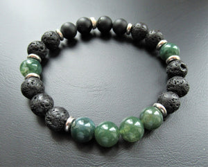 Gemstone Beaded Bracelet - Green Agate, Matt Black Onyx and Volcanic Beads - eDgE dEsiGn London
