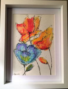 Blue/Red/Orange Flowers - Framed Original Watercolour Painting - eDgE dEsiGn London