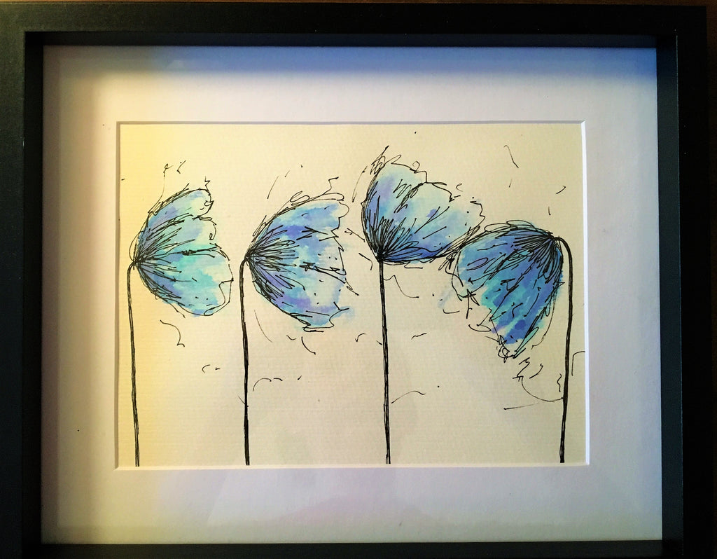 Blue  Poppies - Framed Original Watercolour Painting - eDgE dEsiGn London