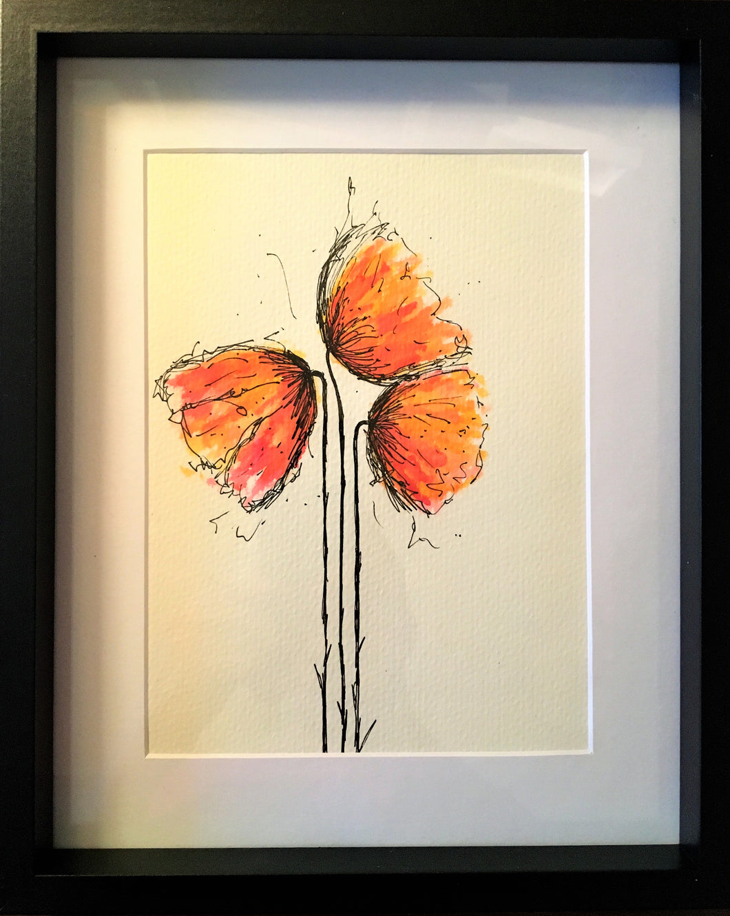 Red/Orange Poppies - Framed Original Watercolour Painting - eDgE dEsiGn London