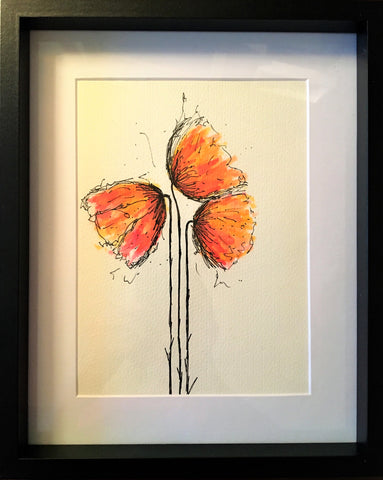 Red/Orange Poppies - Framed Original Watercolour Painting