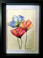 Framed Original Artwork Abstract Flowers - Blue, Red, Yellow and Orange - eDgE dEsiGn London