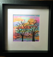 Winter Trees at Sunset - Framed Original Watercolour Painting - eDgE dEsiGn London