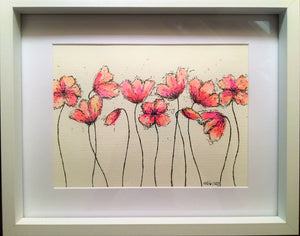 Pink/Red Poppies - Framed Original Watercolour Painting - eDgE dEsiGn London