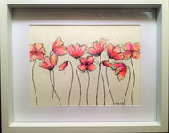 Pink/Red Poppies - Framed Original Watercolour Painting