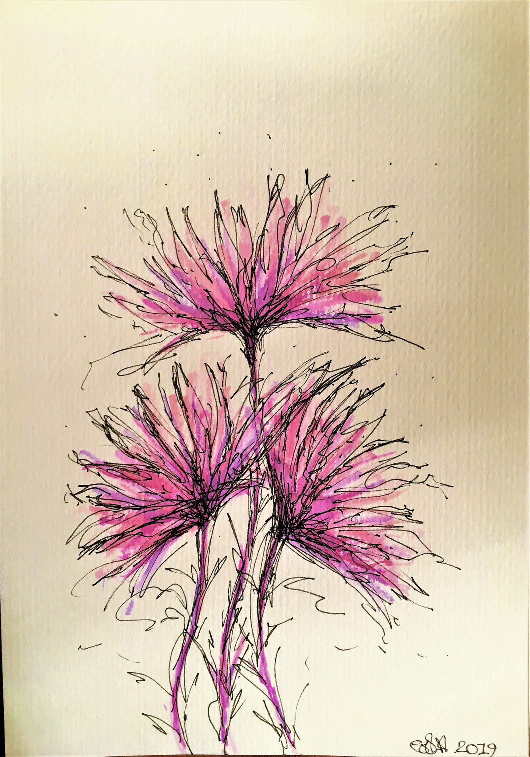 Abstract Purple/Liliac Flowers - Original Watercolour Painting - Unframed - eDgE dEsiGn London