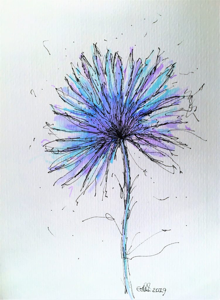 Abstract Turquoise/Lilac Flower - Original Watercolour Painting - Unframed - eDgE dEsiGn London