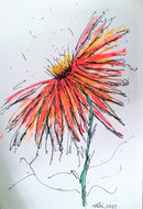 Abstract Red/Orange/Yellow Flower - Original Watercolour Painting - Unframed - eDgE dEsiGn London