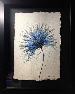 Abstract Blue Flower - Framed Original Watercolour Painting