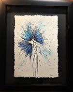 Abstract Blue/Turquoise/Silver Flowers - Framed Original Painting - eDgE dEsiGn London