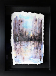 Wet Street in Winter - Framed Original Watercolour Painting - eDgE dEsiGn London