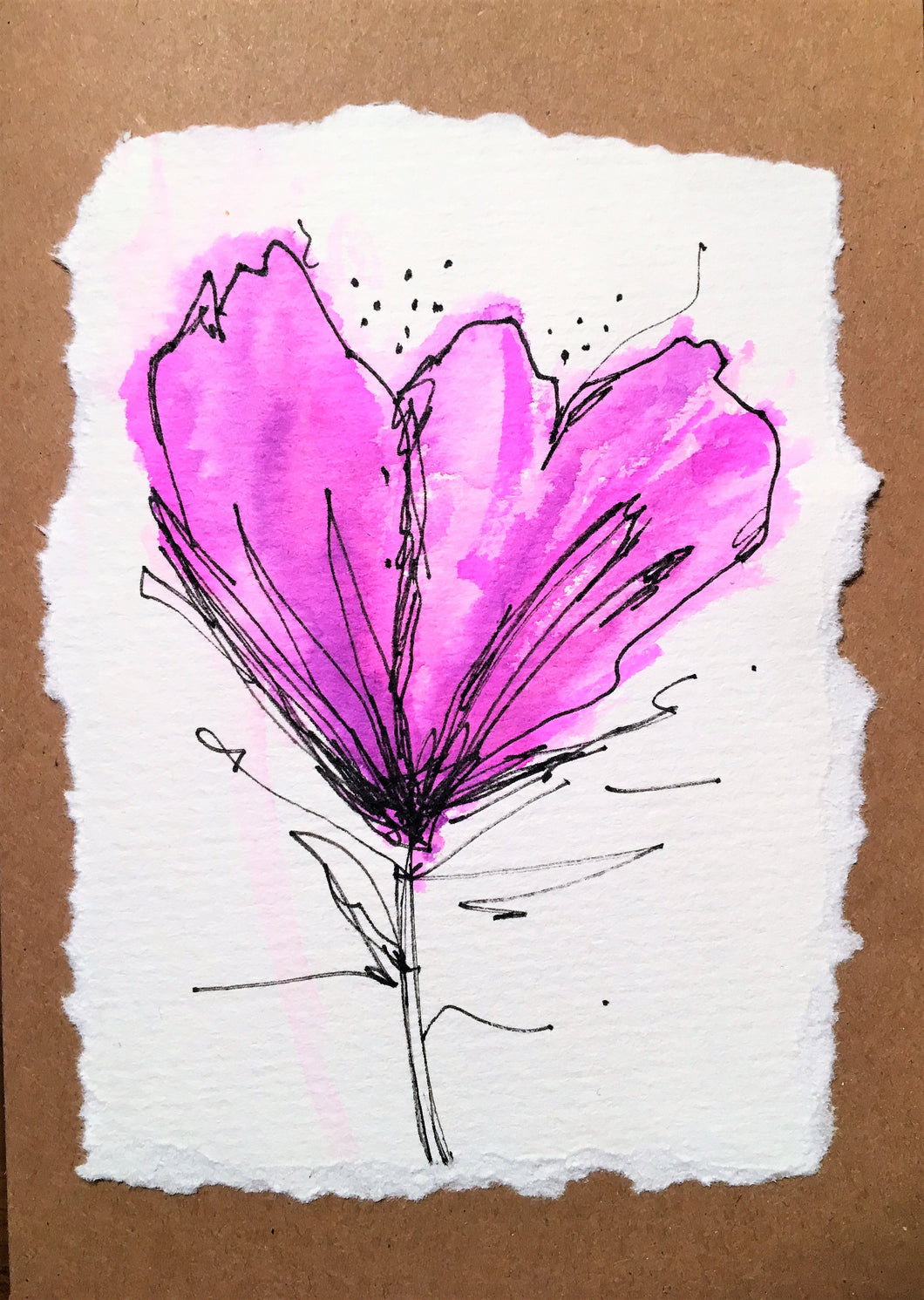 Abstract Purple Watercolour Flower - Greeting Card - eDgE dEsiGn London