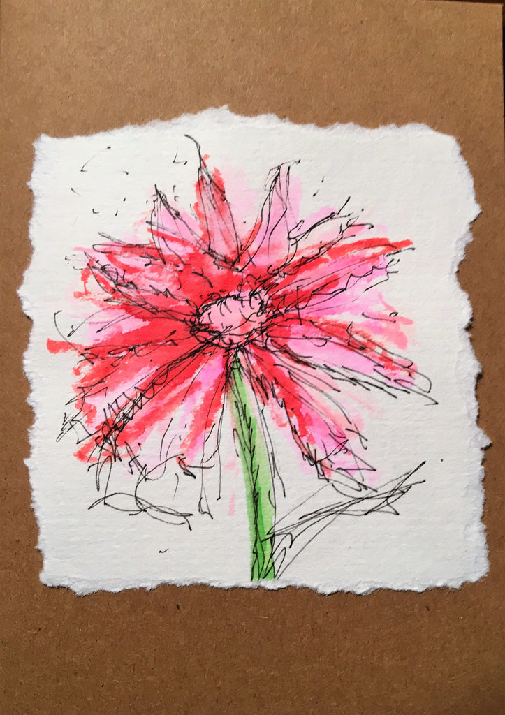 Handpainted Watercolour Greeting Card - Red/Pink Flower Design - eDgE dEsiGn London